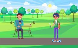 Estudiante Teenagers Relaxing en vector del parque junto stock de ilustración