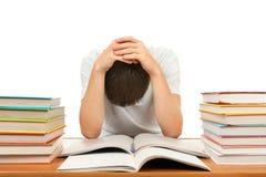 Estudiante triste con libros Fotos de archivo libres de regalías