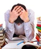 Estudiante triste y cansado Foto de archivo libre de regalías