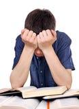 Estudiante triste y cansado Imágenes de archivo libres de regalías