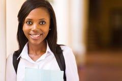 Estudiante universitaria negra Imagen de archivo libre de regalías