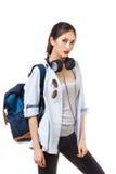 Estudiante universitario aislado en el fondo blanco Estudiantes caucásicos asiáticos de la mujer joven Fotografía de archivo