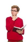 Estudiante universitario con el libro aislado en blanco Imagenes de archivo