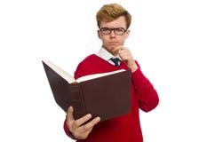 Estudiante universitario con el libro aislado en el blanco Foto de archivo
