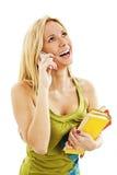 Estudiante universitario de la mujer que habla en el teléfono Foto de archivo libre de regalías