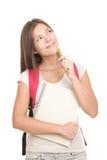 Estudiante universitario de pensamiento en el fondo blanco Imagen de archivo libre de regalías