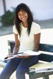 Estudiante universitario de sexo femenino Sitting On Bench con el libro Foto de archivo