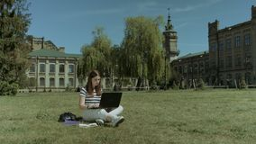 Estudiante universitario elegante que se prepara al examen en césped almacen de video