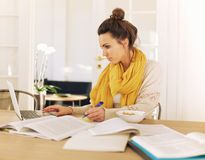 Estudiante universitario joven ocupado con estudiar Foto de archivo