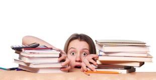 Estudiante universitario nervioso antes de exámenes Foto de archivo libre de regalías