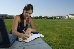 Estudiante universitario que estudia en parque Fotos de archivo libres de regalías