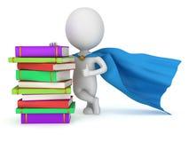 Estudiante valiente del super héroe con la capa azul Imagen de archivo