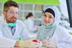 Estudiantes árabes con el hijab mientras que trabaja en la dentadura, dientes falsos imagen de archivo libre de regalías