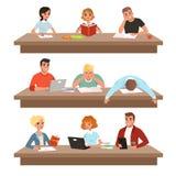 Estudiantes académicos en sistema del proceso de aprendizaje, libros de lectura de la gente joven y estudiar difícilmente antes d ilustración del vector