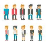 Estudiantes adolescentes del diseño plano fijados Imágenes de archivo libres de regalías