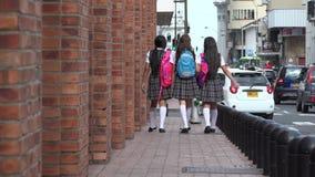 Estudiantes adolescentes femeninos que caminan con las mochilas Fotos de archivo libres de regalías