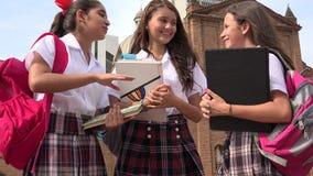 Estudiantes adolescentes que hablan y que sostienen los libros Imagen de archivo libre de regalías