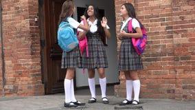 Estudiantes adolescentes que se colocan y que hablan foto de archivo libre de regalías