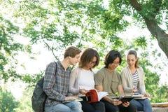 Estudiantes alegres jovenes que se sientan y que estudian al aire libre Imágenes de archivo libres de regalías