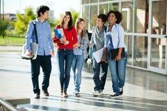 Estudiantes alegres que caminan en campus Fotografía de archivo