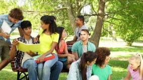 Estudiantes atractivos que leen y que charlan junto afuera en campus almacen de metraje de vídeo