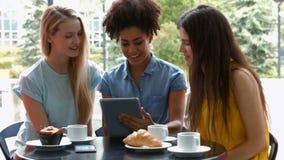 Estudiantes bonitos que cuelgan hacia fuera en café del campus usando la tableta almacen de video