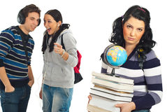 Estudiantes chisme y broma Imagen de archivo