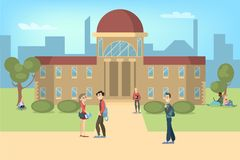 Estudiantes con la universidad stock de ilustración