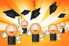 Estudiantes de graduación con las tazas del vuelo ilustración del vector