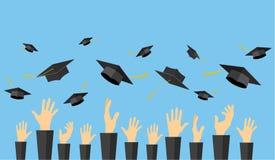 Estudiantes de graduación de las manos del alumno ilustración del vector