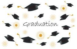 Estudiantes de graduación o manos felices del alumno en casquillos de la graduación que lanzan en el ai stock de ilustración