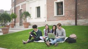 Estudiantes de la raza mixta que localizan en la hierba agradable detrás del campus metrajes