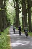 Estudiantes de los adolescentes en la bici en la manera a la escuela Fotografía de archivo libre de regalías