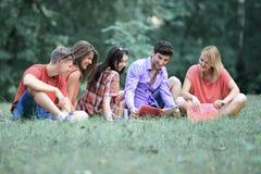 Estudiantes de los amigos que se preparan para el examen que se sienta en el césped en el parque fotos de archivo