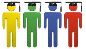 Estudiantes diversos del casquillo de la graduación de la educación escolar Imagen de archivo libre de regalías