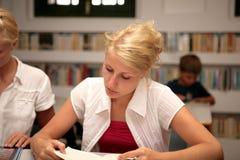 Estudiantes en biblioteca Imagen de archivo libre de regalías