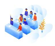 Estudiantes en el ejemplo de color del vector de la sala de clase libre illustration