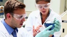 Estudiantes enfocados de la ciencia que examinan la sustancia química almacen de metraje de vídeo