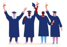Estudiantes felices de graduaci?n aislados en el fondo blanco Ejemplo del vector en un estilo plano de la historieta stock de ilustración