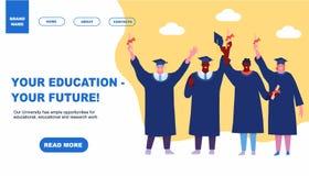 Estudiantes felices de graduaci?n que aterrizan estilo plano del dise?o de la historieta del elemento del concepto de la educaci? fotografía de archivo