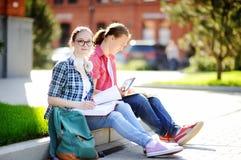Estudiantes felices jovenes con los libros y las notas al aire libre Foto de archivo libre de regalías