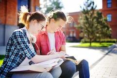 Estudiantes felices jovenes con los libros y las notas al aire libre Imagenes de archivo