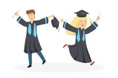 Estudiantes graduados aislados ilustración del vector