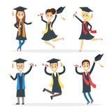 Estudiantes graduados fijados stock de ilustración
