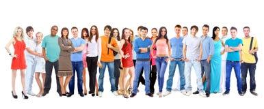 Estudiantes grandes del grupo. Sobre el fondo blanco Imágenes de archivo libres de regalías