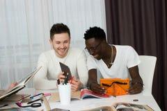 Estudiantes internacionales que estudian en sala de estar Imágenes de archivo libres de regalías