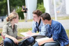 Estudiantes jovenes al aire libre que estudian Imágenes de archivo libres de regalías