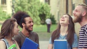 Estudiantes jovenes que se colocan en el campus, comunicando almacen de video