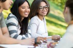 Estudiantes jovenes que se sientan y que estudian al aire libre mientras que habla Foto de archivo libre de regalías