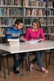 Estudiantes jovenes que trabajan junto en la biblioteca Imagen de archivo libre de regalías